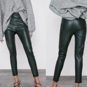 Zara Blogger Fav High Rise Dark Hunter Green Faux Leather Leggings Jeggings. NWT